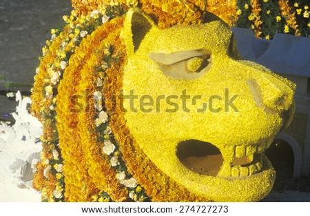 Lion Float in Rose Bowl Parade, Pasadena, California
