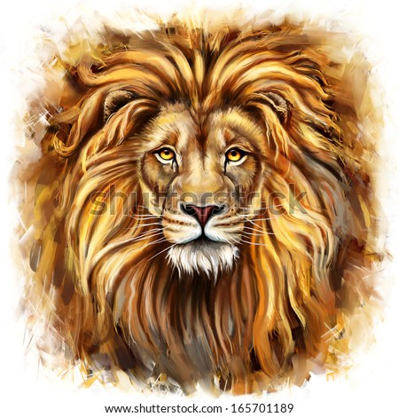 lion head digital painting/ lion head in front