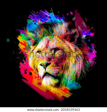 lion head in the night