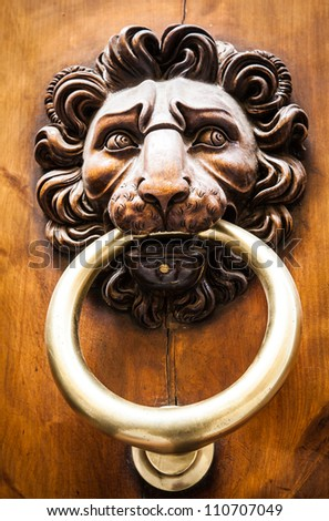 Lion head knocker on an old wooden door in Tuscany - Italy
