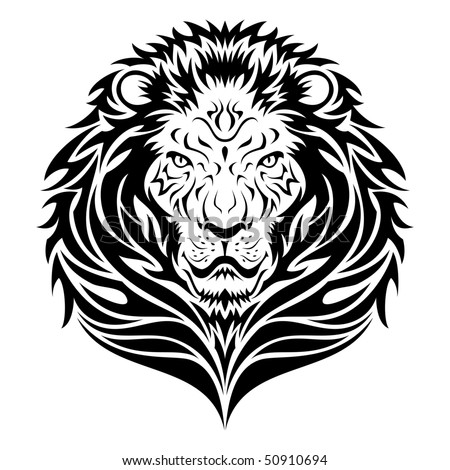stock photo : Lion head tattoo illustration