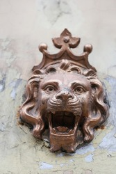 Lion head with crown bronze statue on the wall