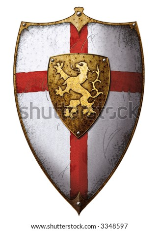 lion-heart templar shield with lion and cross
