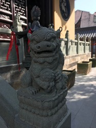 Lion in the garden of a pagoda