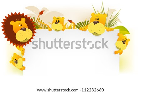 Lion King Family Background/ Illustration of a cute cartoon scenery of an african lion family, with king father, mother and their children holding blank white background