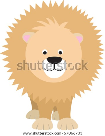 Lion Cartoon Character on Lion Modern Colour Cartoon Character On White Background Stock Photo