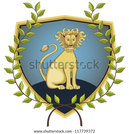 Lion on a shield surrounded by a laurel wreath. Vector version also available in my portfolio.
