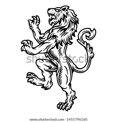 Lion rampant family crest logo of coat Stockfoto ©