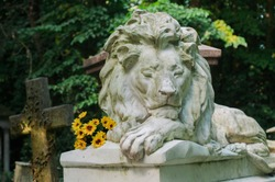 Lion sculpture in an ancient English cemetery
