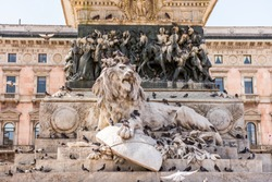 Lion sculpture, part of equestrian statue of Victor Emmanuel II in Milan, King of Sardinia from 1849 until 17 March 1861 and  became the first king of a united Italy.