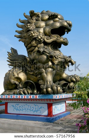 lion statue in buddha temple