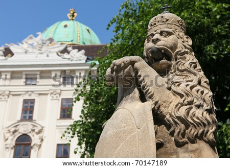 Lion statue (1745) in the Hofburg palace in Vienna, Austria