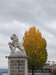 Lion statue infront of big tree in autumn