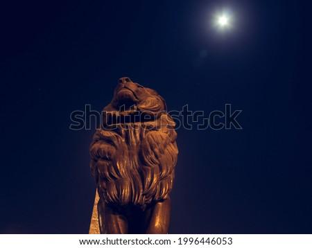 Lion statue Qasr al-Nil on the start and end of Qasr al-Nile Bridge in Egypt Stok fotoğraf ©