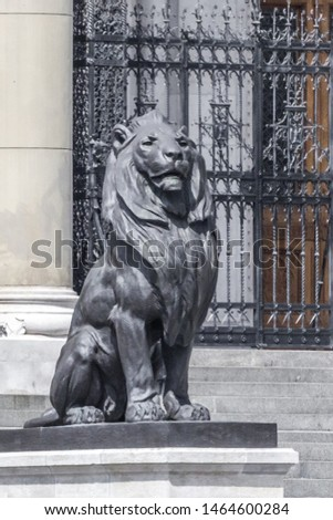 Lion statue. Stone monument. Monument near the castle. Medieval architecture. Historical heritage. Lions of Budapest. Travel to Hungary. European monuments to animals. Muzzle of a lion. #1464600284