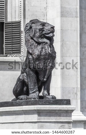 Lion statue. Stone monument. Monument near the castle. Medieval architecture. Historical heritage. Lions of Budapest. Travel to Hungary. European monuments to animals. Muzzle of a lion. #1464600287