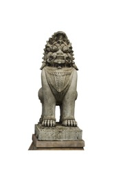 Lion statue (Thailand sing ha) separated from the white background save path