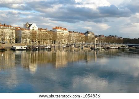 Lione, la banca del Rhone (Francia) - stock photo