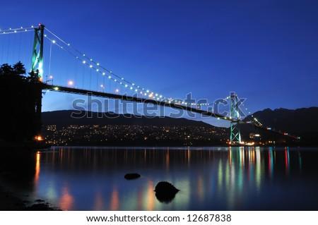 Lions Gate Bridge at night, Vancouver, bc