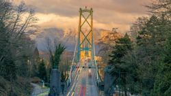 Lions Gate Bridge in sunset, Vancouver, BC, Canada