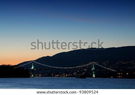 Lions gate bridge Vancouver, Canada at sunset