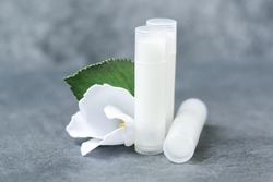 lip balm with flowers in a transparent tube with white contents. DIY lipstick made from natural eco-friendly ingredients. hand made on a gray background