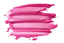 Lip gloss isolated on white. Smudged pink makeup product sample