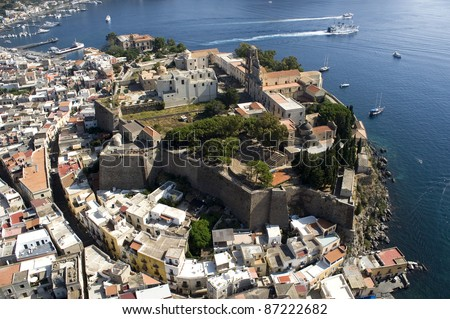 lipari storic middletown from above, messina, sicily, italy, europe