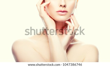 Lips, hands and shoulders of fashion model girl with natural nude makeup and clean skin #1047386746