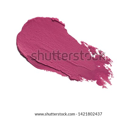Lipstick abstract strokes smudge  background texture pinky-red colored isolated on white