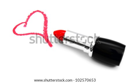 Lipstick for lips and heart. On a white background.