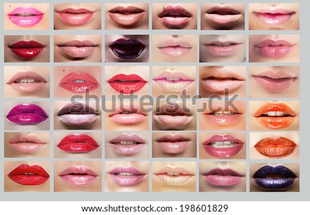 Lipstick. Great Variety of Women\'s Lips. Set of Colorful Mouths