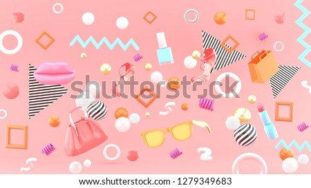 Lipstick, high heels, handbag, glasses and shopping bags floating in the Geometric pattern on the pink background.-3d rendering.