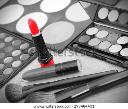 Lipstick makeup brushes make-up eye shadows black and white photo red vintage retro