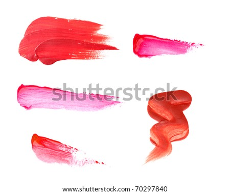 lipstick samples isolated on white