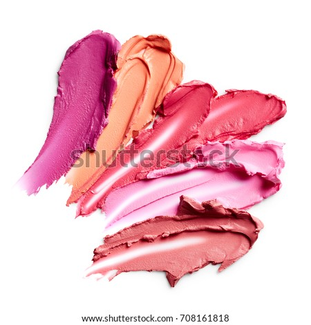 Lipstick smears isolated on white background