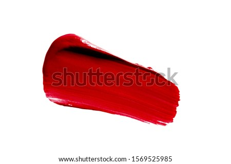 Lipstick smudge smear swatch isolated on white. Make-up texture. Red color cosmetic product brush stroke swipe sample Photo stock ©