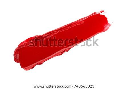 Lipstick swatch sample on white background