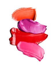 Lipstick textures on white background