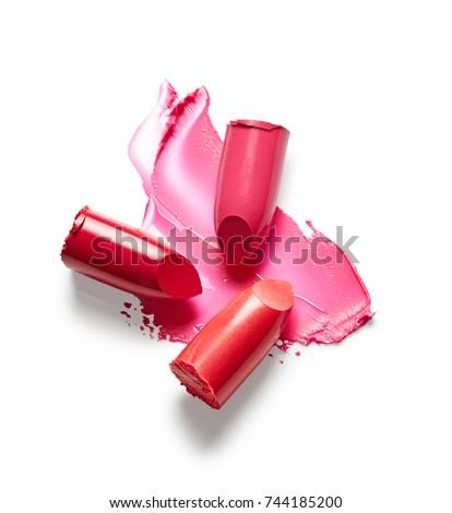 Lipsticks and lipstick smear isolated on white background Photo stock ©