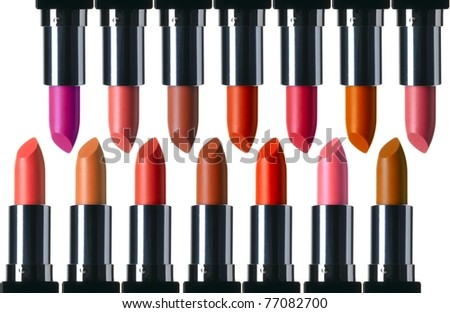 Lipsticks isolated on a white background