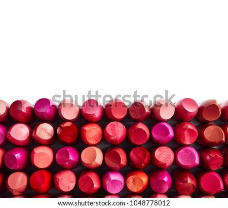 Lipsticks isolated on white background