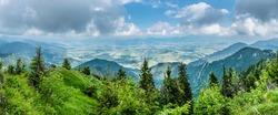 Liptov basin and Liptovsky Mikulas from Sina peak, Low Tatras mountains, Slovak republic. Hiking theme. Seasonal natural scene. Panoramic photo.