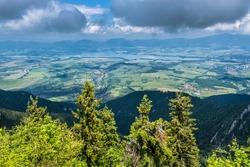 Liptov basin from Sina peak, Low Tatras mountains, Slovak republic. Hiking theme. Seasonal natural scene.