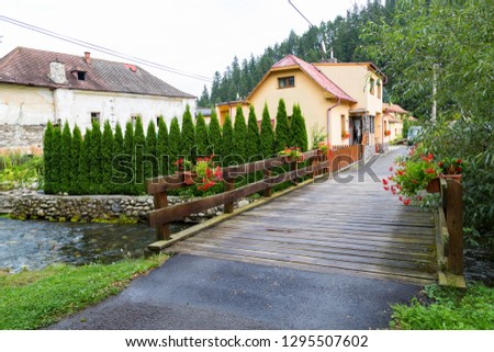 Liptovsky Jan spa village at summer: colorful houses along the fast mountain river with wooden bridge. Slovakia. Tourist attraction, tourist destination, spa vacation #1295507602