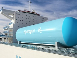 Liqiud Hydrogen renewable energy in vessel - LH2 hydrogen gas for clean sea transportation on container ship with composite cryotank for cryogenic gases. 3d rendering.