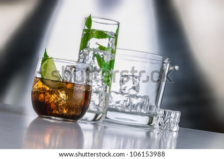 Liqueur set with drinks and ice bucket