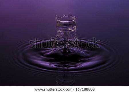 liquid art Water drop collision splash a Liquid Sculpture like a flower in purple blue colors