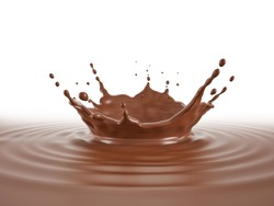 Liquid chocolate background with ripples and crown splash. Perspective view.