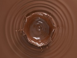 Liquid chocolate background with ripples and crown splash. Top view.